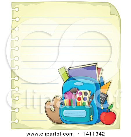 Clipart of a Sheet of Ruled Paper and School Backpack - Royalty Free Vector Illustration by visekart
