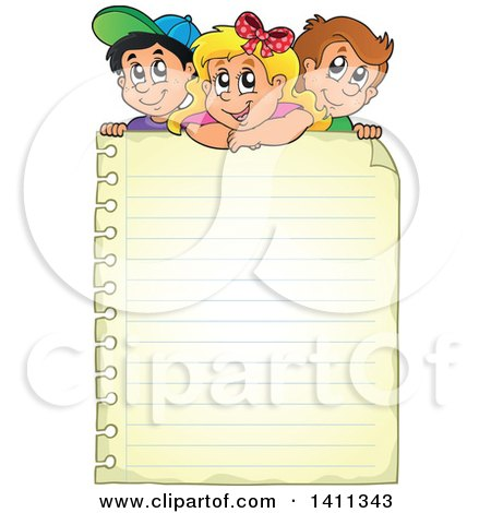 Clipart of School Children over a Blank Sheet of Ruled Paper - Royalty Free Vector Illustration by visekart