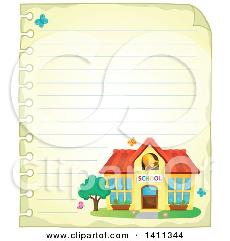 Clipart of a Sheet of Ruled Paper and School Building - Royalty Free Vector Illustration by visekart