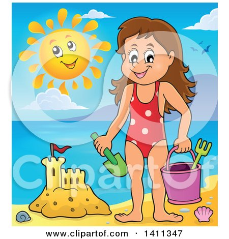 Clipart of a Happy Caucasian Girl by a Sand Castle, and a Happy Sun - Royalty Free Vector Illustration by visekart