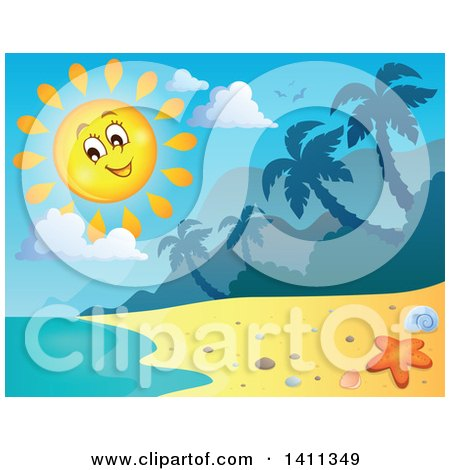 Clipart of a Happy Sun over a Beach - Royalty Free Vector Illustration by visekart