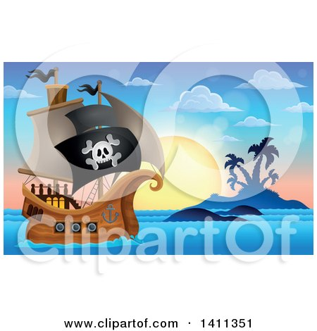Clipart of a Pirate Ship by an Island at Sunset - Royalty Free Vector Illustration by visekart