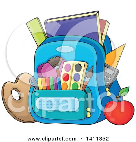 Clipart of a Backpack and School Supplies - Royalty Free Vector Illustration by visekart