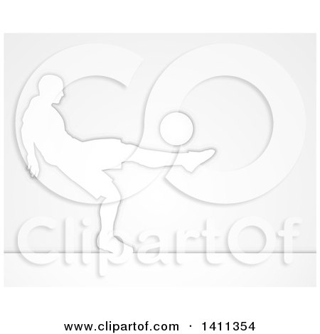 Clipart of a Silhouetted Male Soccer Football Player in Action, over Gray - Royalty Free Vector Illustration by AtStockIllustration