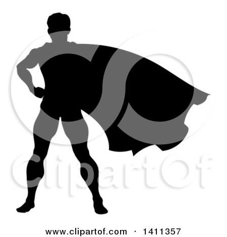 Clipart of a Black Silhouetted Male Super Hero with His Cape Flying - Royalty Free Vector Illustration by AtStockIllustration