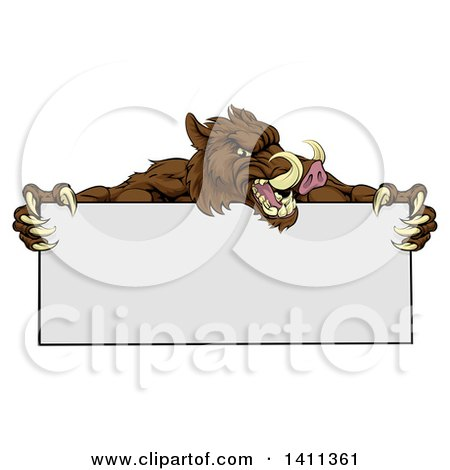 Clipart of a Cartoon Muscular Brown Razorback Boar Mascot Holding a Blank Sign - Royalty Free Vector Illustration by AtStockIllustration