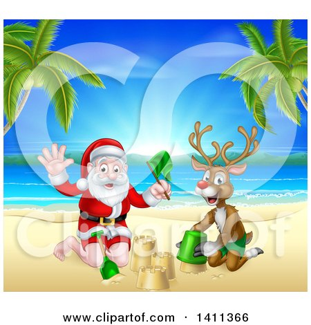 Clipart of a Rudolph Red Nosed Reindeer and Santa Claus Making a Sand Castle on a Tropical Beach - Royalty Free Vector Illustration by AtStockIllustration