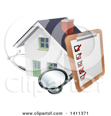 Clipart of a Survey or Check List on a Clip Board and Stethoscope Against a 3d White Home - Royalty Free Vector Illustration by AtStockIllustration