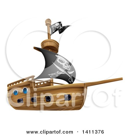 Clipart of a Wooden Pirate Ship with a Jolly Roger Flag - Royalty Free Vector Illustration by AtStockIllustration