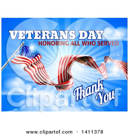 Clipart of a 3d Long Rippling American Flag with Veterans Day Honoring All Who Served Thank You Text on Sky - Royalty Free Vector Illustration by AtStockIllustration