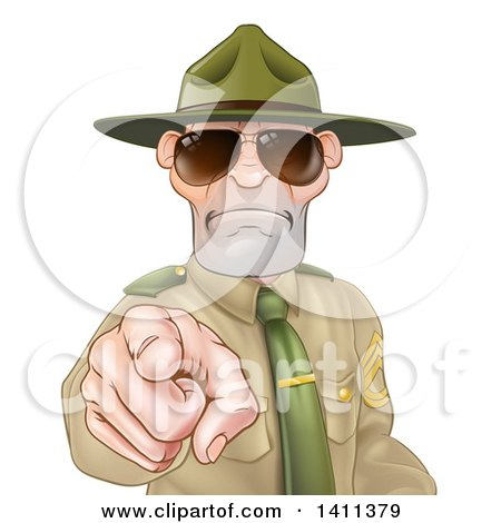 Clipart of a Tough and Angry White Male Drill Sergeant Pointing Outwards and Wearing Sunglasses - Royalty Free Vector Illustration by AtStockIllustration