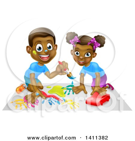 Happy Black Girl Playing with a Toy Car and Boy Painting Posters, Art Prints