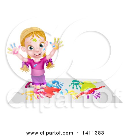 Cartoon Happy White Girl Kneeling on Paper and and Painting Posters, Art Prints