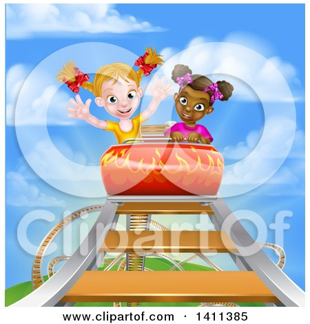 Clipart of Happy White and Black Girls at the Top of a Roller Coaster Ride, Against a Blue Sky with Clouds - Royalty Free Vector Illustration by AtStockIllustration