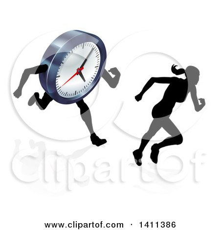 Clipart of a Silhouetted Woman Sprinting Before a Clock Character - Royalty Free Vector Illustration by AtStockIllustration
