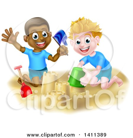 Clipart of Happy White and Black Boys Playing and Making Sand Castles on a Beach - Royalty Free Vector Illustration by AtStockIllustration