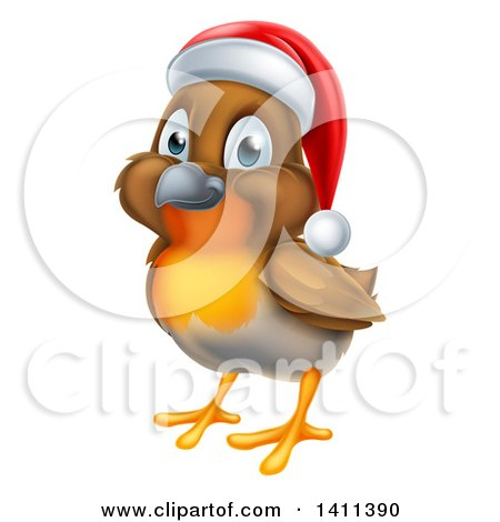 Clipart of a Cheerful Christmas Robin in a Santa Hat, Facing Left - Royalty Free Vector Illustration by AtStockIllustration