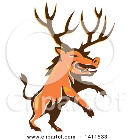 Clipart of a Retro Rearing Razorback Boar Pig Beast with Antlers - Royalty Free Vector Illustration by patrimonio