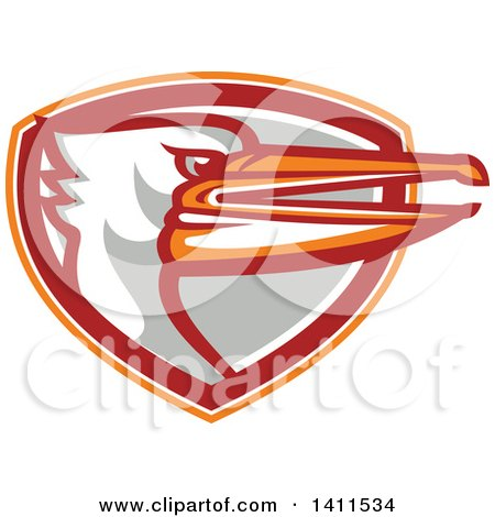 Clipart of a Retro Pelican Bird Head Emerging from an Orange White Red and Gray Shield - Royalty Free Vector Illustration by patrimonio