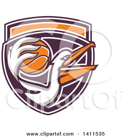 Clipart of a Retro Pelican Bird Holding a Basketball in His Beak, in a Purple White and Orange Shield - Royalty Free Vector Illustration by patrimonio