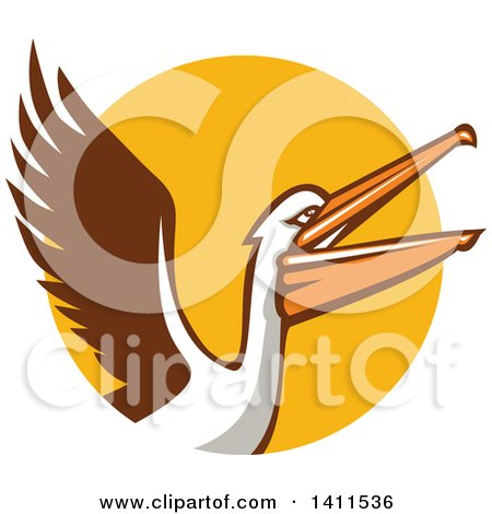 Clipart Of A Retro Pelican Bird Flying Over A Yellow Circle Royalty Free Vector Illustration