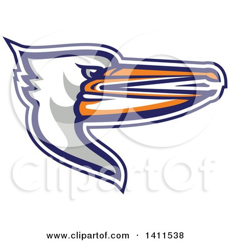 Clipart of a Retro Pelican Bird Head in Profile - Royalty Free Vector Illustration by patrimonio