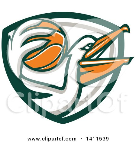 Clipart of a Retro Pelican Bird Holding a Basketball, in a Green White and Gray Shield - Royalty Free Vector Illustration by patrimonio