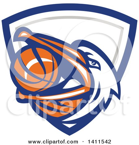 Clipart of a Retro Pelican Bird Holding a Basketball in His Beak, in a Blue White and Gray Shield - Royalty Free Vector Illustration by patrimonio