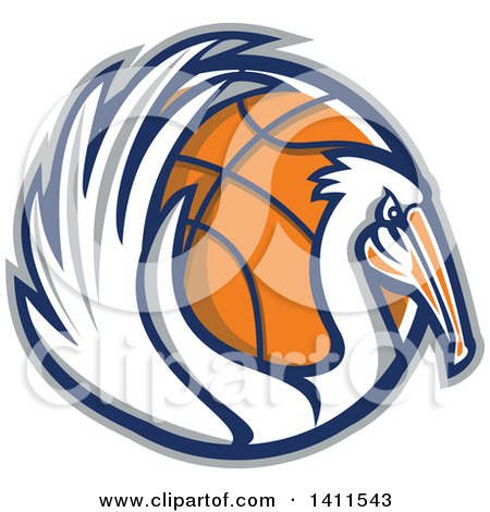 Clipart of a Retro Pelican Bird Holding a Basketball in a Gray Blue and Orange Circle - Royalty Free Vector Illustration by patrimonio