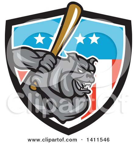 Clipart of a Cartoon Gray Bulldog Baseball Player Batting in an American Themed Shield - Royalty Free Vector Illustration by patrimonio