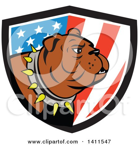 Clipart of a Cartoon Brown Bulldog Wearing a Spiked Collar in an American Themed Shield - Royalty Free Vector Illustration by patrimonio