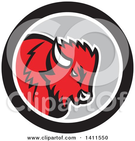 Clipart of a Retro Red Buffalo Head in a Black White and Gray Circle - Royalty Free Vector Illustration by patrimonio