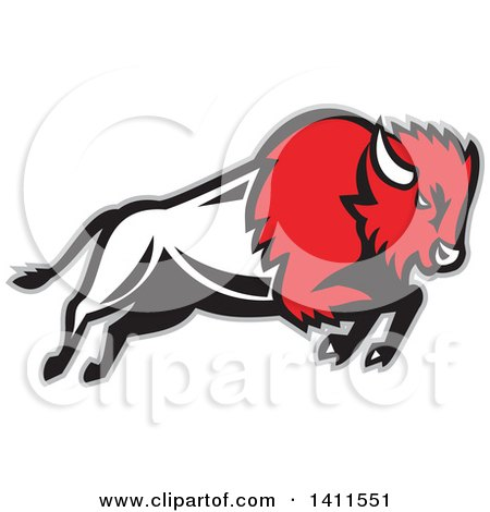 Clipart of a Retro Charging Red, Black and White Buffalo Charging, with a Gray Outline - Royalty Free Vector Illustration by patrimonio