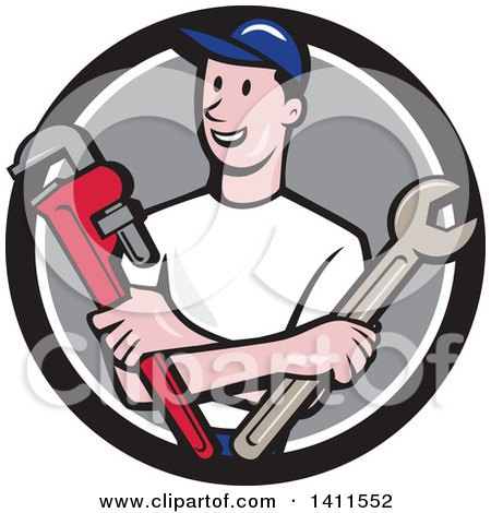 Retro Cartoon White Male Plumber, Mechanic or Handyman Holding Monkey and Spanner Wrenches in Folded Arms, in a Black White and Gray Circle Posters, Art Prints