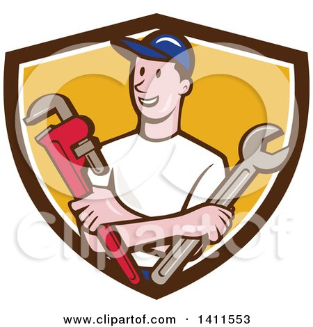 Retro Cartoon White Male Plumber, Mechanic or Handyman Holding Monkey and Spanner Wrenches in Folded Arms in a Brown White and Yellow Shield Posters, Art Prints