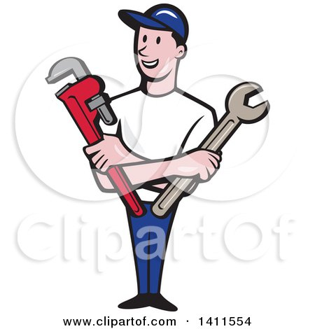 Retro Cartoon White Male Plumber, Mechanic or Handyman Holding Monkey and Spanner Wrenches in Folded Arms Posters, Art Prints