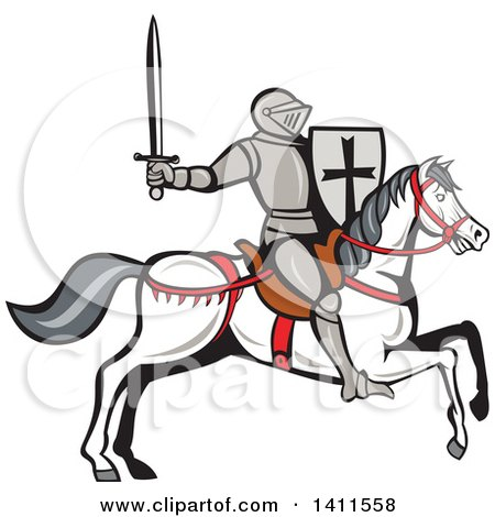Clipart of a Cartoon Horseback Armoured Knight Holding up a Sword and Riding a White Horse - Royalty Free Vector Illustration by patrimonio