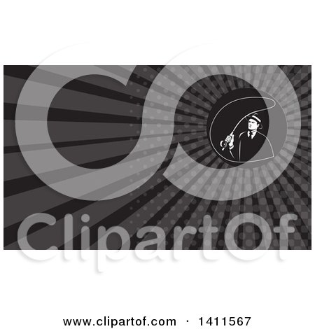 Clipart of a Retro Mobster Gangster Guy Fly Fishing and Gray Rays Background or Business Card Design - Royalty Free Illustration by patrimonio