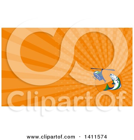 Clipart of a Retro Barramundi Asian Sea Bass Fish Jumping and Being Hooked by a Helicopter and Orange Rays Background or Business Card Design - Royalty Free Illustration by patrimonio