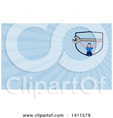 Clipart of a Retro Cartoon White Male Mechanic Holding up a Giant Spanner Wrench and Blue Rays Background or Business Card Design - Royalty Free Illustration by patrimonio