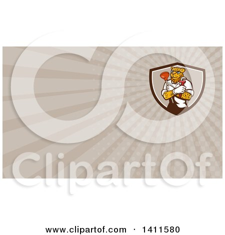 Clipart of a Leopard Plumber Holding a Plunger and Monkey Wrench in Folded Arms and Rays Background or Business Card Design - Royalty Free Illustration by patrimonio