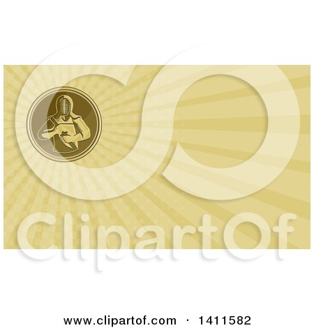 Clipart of a Retro Coin with a Kendo Kendoka Swordsman with Bamboo Sword or Shinai and Rays Background or Business Card Design - Royalty Free Illustration by patrimonio
