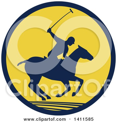 Clipart of a Silhouetted Polo Player on Horseback, Swinging a Mallet in a Navy Blue and Yellow Circle - Royalty Free Vector Illustration by patrimonio