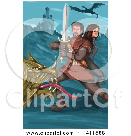 Clipart of a Watercolor Styled Knight Battling a Dragon and Protecting a Princess near a Castle - Royalty Free Vector Illustration by patrimonio
