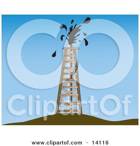 Oil Gusher Spurting Out of a Drilling Tower Clipart Illustration by Rasmussen Images