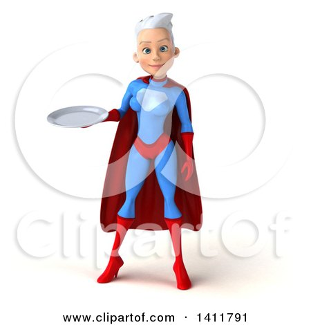 Clipart of a 3d Young White Haired Caucasian Female Super Hero in a Blue and Red Suit, on a White Background - Royalty Free Illustration by Julos