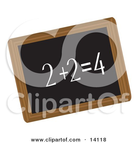Simple Math Equation Written in Chalk on a Blackboard School Clipart Illustration by Rasmussen Images