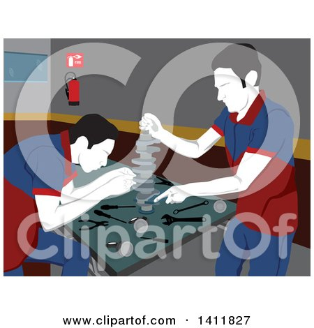 Clipart of Male Mechanics Working on Car Parts in a Garage - Royalty Free Vector Illustration by David Rey