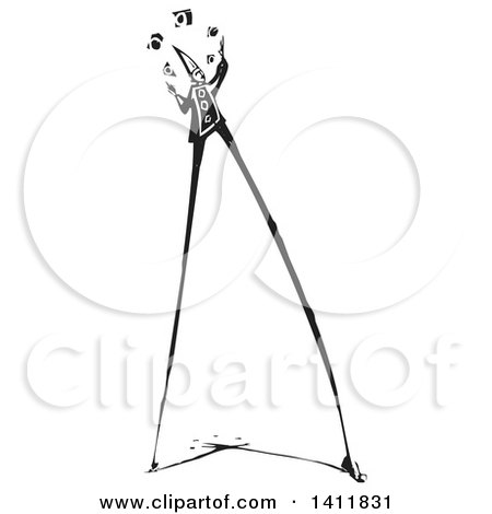 Clipart of a Black and White Woodcut Circus Clown Walking on Stilts and Juggling - Royalty Free Vector Illustration by xunantunich