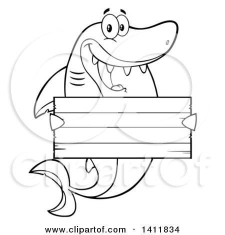 Clipart of a Cartoon Black and White Lineart Happy Shark Mascot Character Holding a Wooden Sign - Royalty Free Vector Illustration by Hit Toon